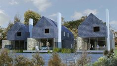 The Water Garden Village Types Of Houses, Tiny Houses, Side Deck, Contemporary Building, Design Studio, House Roof, Lake View, Water Garden, Winchester