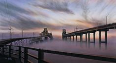"""The Bridges"" by Jim Booth - Old Cooper River Bridges in Charleston, SC"