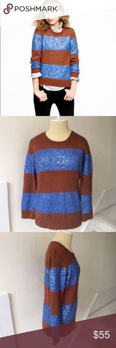 J. Crew Wynter Sweater in Sequin Stripe EUC Sequin stripe sweater from J. Crew. Excellent used condition. Perfect for the holidays! J. Crew Sweaters Crew & Scoop Necks