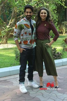 Ayushmann Khurrana and Parineeti Chopra during 'Meri Pyaari Bindu' promotions at YRF Studios