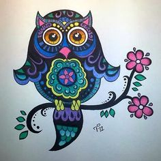 'Bright Colorful Whimsical Owl' by Tarren Pearson
