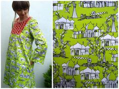 Brighton Souvenir Tova dress made by Ivy Arch in Makower's Brighton Pavilion print fabric