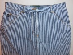 Ralph Lauren Jean Co.  6P 6 Petite Denim Blue White Railroad Stripe Jean Skirt #LaurenRalphLauren #StraightPencil