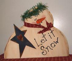 Image detail for -Primitive Snowman Star shelf sitter