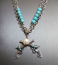 COWGIRL Bling PISTOLS GUNS SIX SHOOTERS Turquoise Western Gypsy NECKLACE SET #blessed