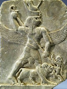 Carved relief, Horus is depicted with a hawk's head and double-crown, spearing a man who is also attacked by a lion, circa 350-320 BC, from ancient Egypt
