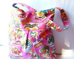 Sugar Candy Skulls pleated shoulder tote bag