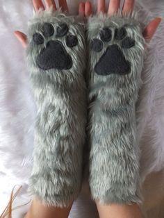 Elbow Length Colour Choice Furry Faux Fur Cat Wolf Fox Husky Dog Bear Paw Grey…
