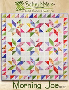 Morning Joe- Mini pattern- Schnibbles by Miss Rosie's Quilt Co. Quilting Stitch Patterns, Patchwork Quilt Patterns, Crazy Patchwork, Quilting Designs, Block Patterns, Charm Pack Quilt Patterns, Patchwork Ideas, Bird Patterns, Patchwork Bags