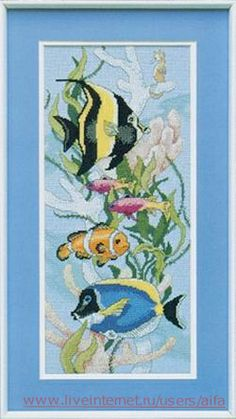 This would be so much fun! Cross Stitch Sea, Counted Cross Stitch Patterns, Cross Stitch Charts, Tropical Fish, Needlepoint, Art For Kids, Needlework, Crafty, Embroidery