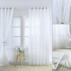 Fashion White Grey Sheers Curtain Voile Slot Lined Net & Voile Curtain with Tie Back Voile Panels, Voile Curtains, Curtain Tie Backs, Home Decor Inspiration, Slot, Grey, Fashion, Gray, Moda