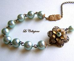 Vintage Inspired Bridal Necklace - Teal Czech Glass Pearl, Art Nouveau Jewelry, Antiqued Brass Filigree, Bridesmaids Gifts -- 9594 on Etsy, $34.50