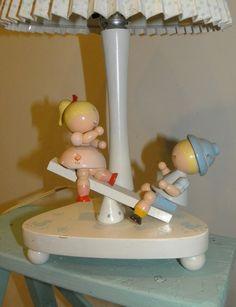 Vintage Irmi Lamp for Nursery Teeter Totter Boy by Sugarcookielady, $40.00