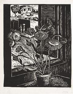 Sempre-vivas 1952   Glenio Bianchetti linoleogravura, - 1ª série 30.00 x 23.20 cm