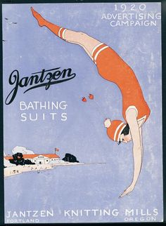 Fun Fact Friday: The Jantzen Diving Girl logo caused such a craze in the 1920s that Massachusetts authorities insisted the stickers be removed from automobile windshields in the interest of public safety.