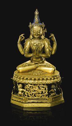 清乾隆 鎏金銅觀音菩薩坐像<br>《大清乾隆年敬造》款 | Lot | Sotheby's