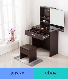Generous and simple dressing table give you a elegant feeling and can good match your room style. On the surface is a mirror, inside have large storage. Wardrobe Design Bedroom, Bedroom Bed Design, Bedroom Furniture Design, Home Decor Furniture, Bedroom Chair, Custom Furniture, Modern Bedroom, Furniture Ideas, Simple Dressing Table