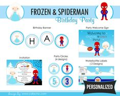 Frozen Spiderman Birthday Party Package Princess by CallaChic, $39.00