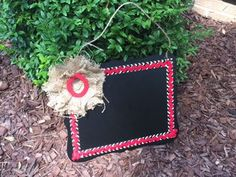 Personalized Chalkboard Sign in Red and Burlap by GBTButtonsNBows