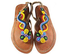 Browse unique items from Sipdada on Etsy, a global marketplace of handmade, vintage and creative goods. Beaded Shoes, Beaded Sandals, Slipper Sandals, Shoes Sandals, Crochet Shoes, African Beads, Wig Cap, Hippie Chic, Leather Sandals