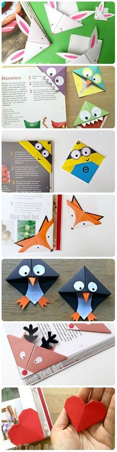 We adore making Bookmarks and these corner bookmarks are GREAT fun to make and give. So many different designs for all seasons - with more to come (check back regularly! From Bunny Bookmarks for Easter, to Minion Bookmarks for Minion fans. Bookmark Craft, Diy Bookmarks, Corner Bookmarks, Bookmark Ideas, Bookmarks For Kids, Origami Bookmark Corner, How To Make Bookmarks, Cute Crafts, Diy Crafts For Kids