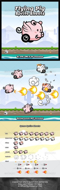 Flying Pig Game Character Sprite Sheets - Sprites Game Assets