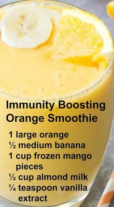 Immunity Boosting Orange Smoothie ~ This Smoothie packs a hefty dose of Vitamin . Immunity Boosting Orange Smoothie ~ This Smoothie packs a hefty dose of Yummy Drinks, Healthy Drinks, Healthy Snacks, Healthy Eating, Healthy Recipes, Refreshing Drinks, Nutrition Drinks, Healthy Yogurt, Healthy Detox