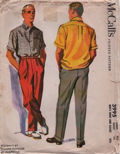 McCalls 3995 1950s Mens Shirt and Cuffed Pants Pattern Designed by William Doniger of McGregor  | PatternGate - Craft Supplies on ArtFire