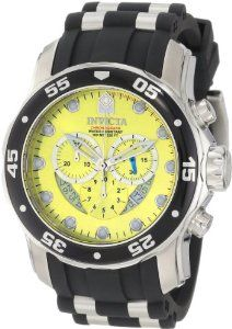 Father's day gift: Invicta Mens 6978 Pro Diver Collection Chronograph Yellow Dial Black Polyurethane Watch http://www.squidoo.com/workshop/invicta-watchesformen-review