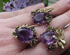 Silver set with natural amethyst . Handmade 468$