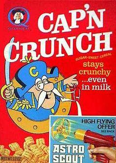 Cap'n Crunch cereal  c. 1965 // stays crunchy even in milk!