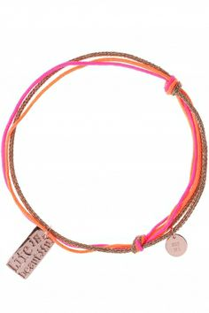"this #neon #bracelet features a rectangular pendant engraved with the words ""live is beautiful"" I NEWONE-SHOP.COM"