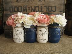 Mason Jars, Ball jars, Painted Mason Jars, Flower Vases, Rustic Wedding Centerpieces, Navy Blue And Creme Mason Jars