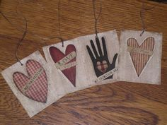 8 Assorted Primitive Rustic  Valentine  Love  Be by ChooseMoose