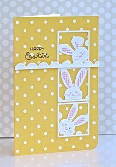 Easter Bunny Card - Peeking Bunny Squares die-Frantic Stamper (FRA-DIE-09818)