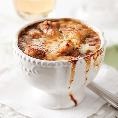 The bistro classic, full of sweet onion and rich, beefy broth, is an original gourmet comfort.  This version of French Onion Soup is ingenious - simply pop the entire soup into a dish and bake up for a warm, flavorful treat topped with croutons and oozing cheese.  As easy as it is delicious, and we know once you try our French Onion Soup you'll be back for more.  Six 10 oz. individual soups.