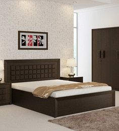 Kosmo Choco Queen Size Bed with Hydraulic Storage in Vermont Finish