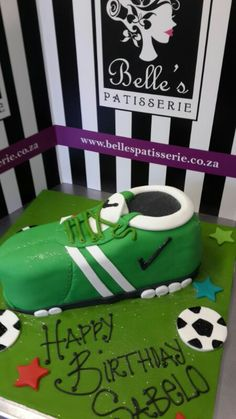 A soccer boot cake for young soccer fans - by Belle's Patisserie
