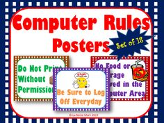 Computer+Rules+Poster+Set+from+La-NetteMark+on+TeachersNotebook.com+-++(20+pages)++-+Computer+Rules+Posters+for+Classroom+or+Computer+Stations!