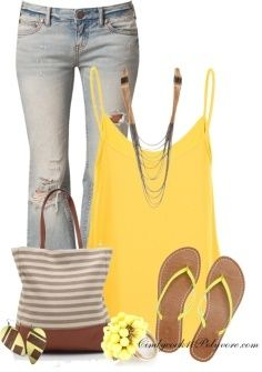 Cute Jeans & Yellow Tank Summer Outfit