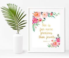 Nursery Bible Verse Print, She Is Far More Precious Than Jewels, Proverbs 31: 10, Printable Art, Bible Verse Wall Art, Instant Download Bible Verse Wall Art, Nursery Bible Verses, Proverbs 31, Nursery Wall Art, Digital Prints, Poster Prints, Jewels, Printable Art, Original Artwork