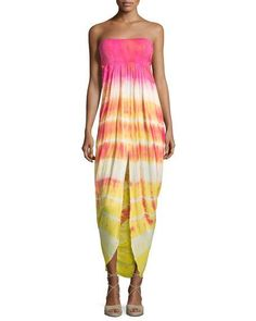 Young Fabulous and Broke Neve Strapless Tie-Dye Dress