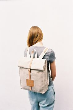 Gifts for her: Top Roll Rucksack Natural off until midnight) Natural Tan, Natural Leather, Mori Girl, Leather Backpack, Black And Grey, Gifts For Her, Long Skirts, Backpacks, How To Wear