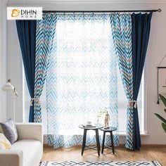 DIHIN HOME Pixel style Blue Brown Stripes Printed,Blackout Grommet Window Curtain for Living Room Panel - Modern Curtains - Living Room Decor Curtains, Home Curtains, Modern Curtains, Living Room Windows, Colorful Curtains, New Living Room, Living Room Modern, Window Curtains, Living Room Designs