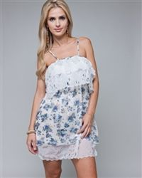 Dress Blue Floral White & Cream Mixed -     100 % Polyester Blue Dresses, Cream, Floral, Casual, Tops, Women, Fashion, Creme Caramel, Moda