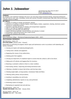 auto mechanic resume sample free - Template Cover Letter For Resume