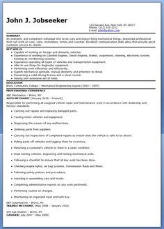 Automotive Mechanic Resume Example