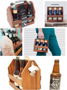 Personalized Wooden Six Pack Carrier. Each handcrafted in San Francisco, CA with reclaimed wood, aluminum handle and a stainless steel bottle opener as a bonus. Give him a fun and unique way of carrying his favorite beer! Perfect for BBQ's and an afternoon at the park! #zazzle #sixpackcarrier #sixpack #beer #beerholder #handcrafted #handmade #reclaimedwood #fathersday #forhim #gift #unique