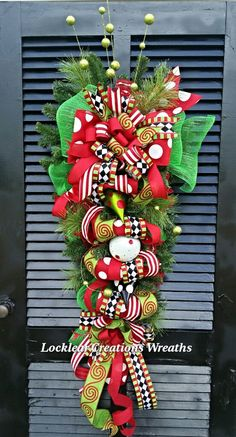 Red Lime Harlequin Christmas Wreath by LocklearCreations13 on Etsy