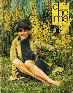 """Romanian actress Irina Petrescu. Front cover of """"Cinema"""" magazine (April 1966)."""
